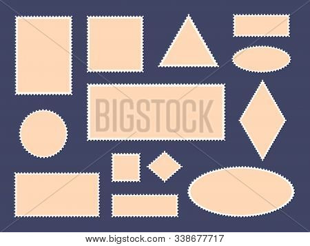 Postcard Stamp Frames. Postage Stamps Border, Empty Paper Postcards And Mail Office Stamp Frames, Ph