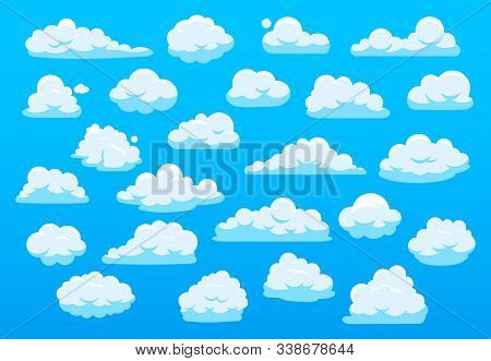 Cute Cartoon Clouds. Blue Sky With Cute Cartoon Cloud, Nature White Clouds, Fluffy Cloudscape Heaven