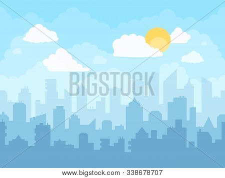 Cartoon Blue Sky Cityscape. Cloudy Sky, City Skyline Landscape, Midday Graphic Urban Silhouette City