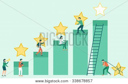 Teamwork Success, Get Best Services For Business. Man And Woman Working, Star Symbol, Employee Reput