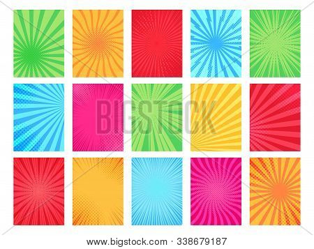 Comic Book Background. Cartoon Books Page Template, Graphic Art Frame And Texture Comical Poster Bac