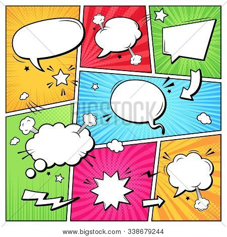 Comic Books Dialog Bubbles. Cartoon Book Superhero Scrapbook Page Template, Empty Comical Speech Clo