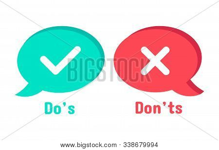 Do And Dont Icons. Speech Bubble Checklist Element, Yes And No Dialogue Cloud Box. Accept Or Reject