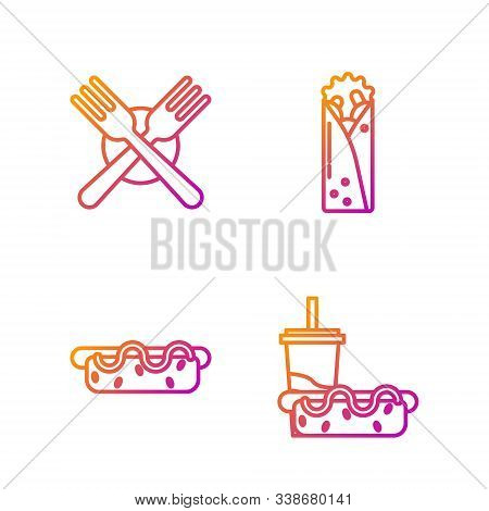 Set Line Paper Glass With Drinking Straw And Hotdog, Hotdog Sandwich With Mustard, Crossed Fork And