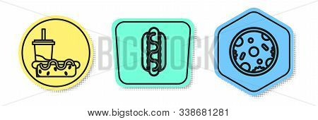 Set Line Paper Glass With Drinking Straw And Hotdog, Hotdog Sandwich With Mustard And Pizza. Colored
