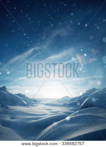 A Mystical Winter Snow Covered Landscape Christmas Background With Particles Of Snow Falling.
