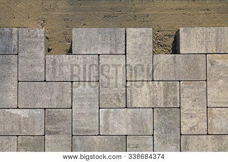 Regular Shape Blocks, Texture, Background. Paving Slabs Of Gray Blocks Of Flat Shape, Close-up. Frag