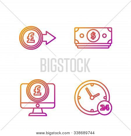 Set Line Clock 24 Hours, Computer Monitor With Pound Sterling Symbol, Coin Money With Pound Sterling