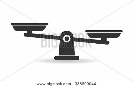 Bowls Of Scales In Balance, An Imbalance Of Scales. Black Icons. Libra, Vector