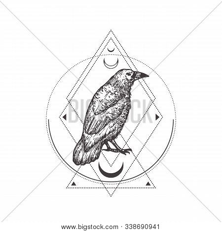 Abstract Occult Symbol, Vintage Style Logo Or Tattoo Template. Hand Drawn Black Crow Or Raven Sketch