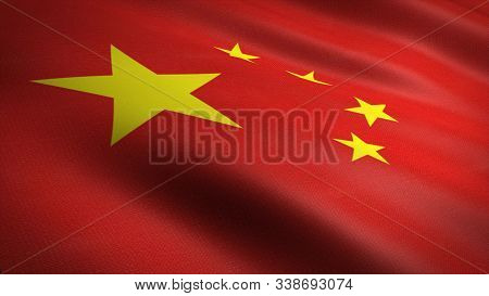 Flag Of The Peoples Republic Of China. Realistic Waving Flag 3d Render Illustration With Highly Deta