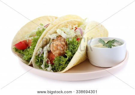 Yummy Fish Tacos With Sauce Isolated On White