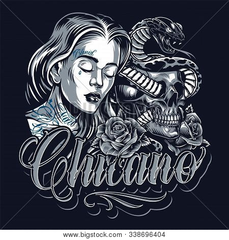 Chicano Tattoo Vintage Template With Sad Beautiful Girl Cat Skull Roses Poisonous Snake Entwined Wit