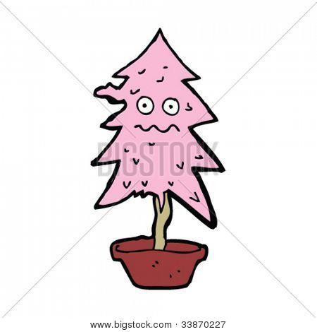 cartoon pink christmas tree looking worse for wear