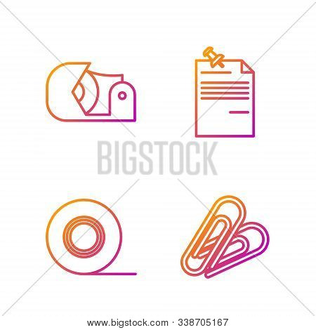 Set Line Paper Clip, Scotch, Scotch And Note Paper With Pinned Pushbutton. Gradient Color Icons. Vec