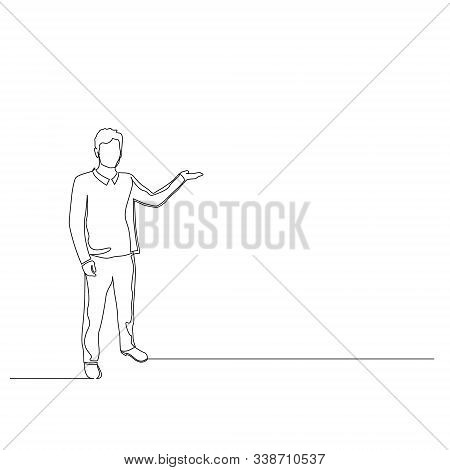 Continuous One Line Woman Points To The Copyspace. Vector Illustration.