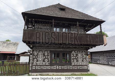 Cicmany, Zilina / Slovakia - June 16, 2018:  Traditional House With  Geometric White Paintings As A