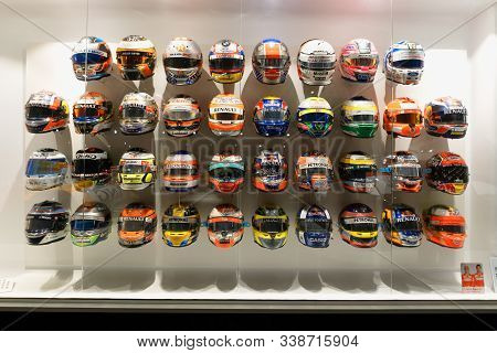 F1 Helmets With Dedication That Other Pilots Gave To Fernando Alonso. Image Taken At The Fernando Al