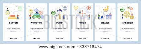 Mobile App Onboarding Screens. Service And Repair Icons, Fix Tools, Pump, Rotor. Menu Vector Banner