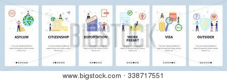Mobile App Onboarding Screens. Immigration And International Travel, Asylum And Citizenship, Visa, P