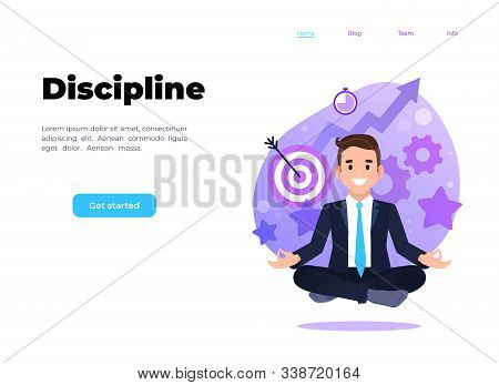 Businessman Sitting In Lotus Pose. Self Management, Time Management, Self Discipline Concept Illustr