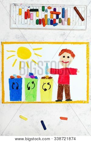 Photo Of Colorful Drawing:  Waste Separation. Smiling Boy Segregating Their Garbage To Different Col