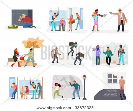 Set Of Criminal Malefactor. Kidnapers, Burglars, Thieves, Their Victims And Detective Isolated. Flat