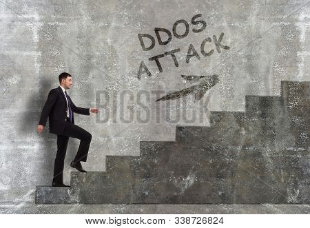 Business, technology, internet and networking concept. A young entrepreneur goes up the career ladder: Ddos attack poster