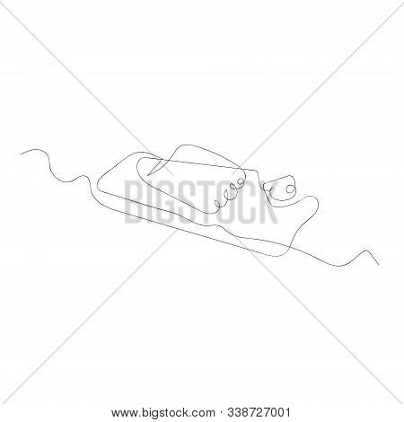 Continuous One Line Drawing Mousetrap. Vector Stock Illustration.