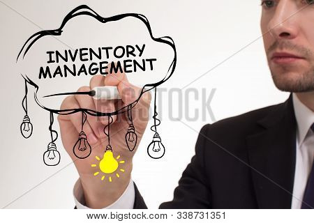 Business, Technology, Internet And Networking Concept. Young Entrepreneur Showing Keyword: Inventory