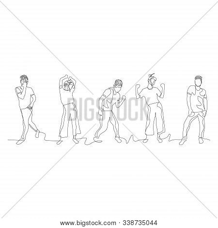 Continuous One Line Dancing People. Dance Party. Vector .