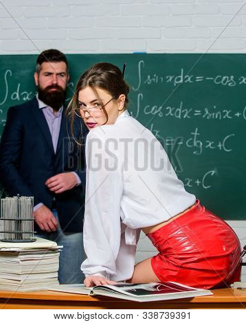 Sexy And Genius. Genius Look Of Sensual Teacher. Genius Woman In Glasses. Bearded Man At Chalkboard.