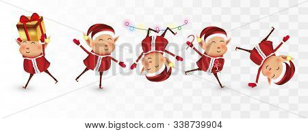 Collection Of Christmas Elves Isolated On Transparent Background. Little Elves. Santa S Helpers. Man