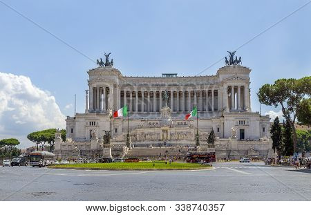Italy, Rome/ August 16, 2019. Altar Of The Fatherland (altare Della Patria) Known As The Monumento N