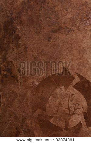 Old brown parer background with recycle sign poster