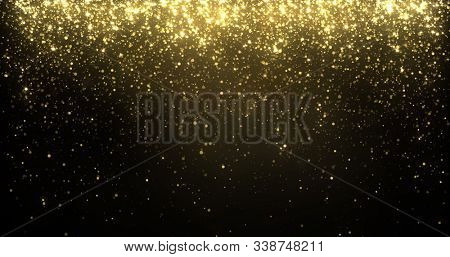 Gold glitter particles falling, golden sparkling shine light background for Christmas holiday. Magic golden glow shimmer confetti and firework glittering sparks