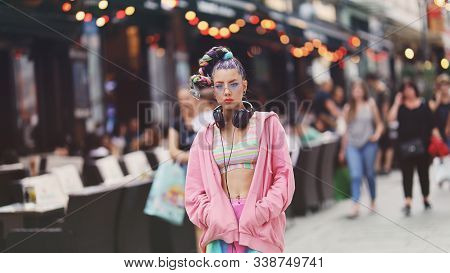 Urban Portrait Of Eccentric Young Woman Model On The Streets - Unique-looking Younger With Colourful