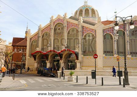 Valencia, Spain - Novemer 28, 2019: Exterior Of Mercat Central (central Market) Of Valencia, Spain