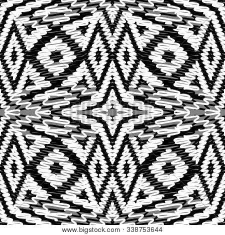 Intricate Doodle Lines, Knits, Wavy Lines Vector Seamless Pattern. Ornamental Textured Yarn Backgrou