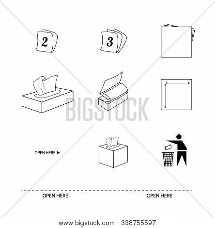 Tissue And Paper Towel Flat Line Icons. Signs 2ply And 3ply Sheets. Recycle Symbol. Sheet Size. Open