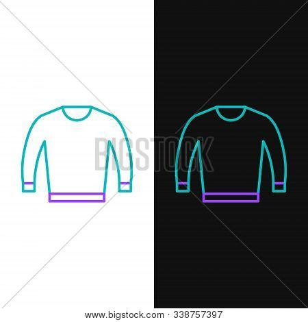 Green And Purple Line Sweater Icon Isolated On White And Black Background. Pullover Icon. Vector Ill