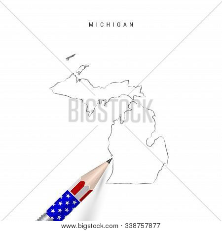 Michigan Us State Vector Map Pencil Sketch. Michigan Outline Contour Map With 3d Pencil In American