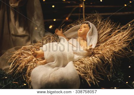 Christmas Manger Scene With Figures Including Jesus. Close-up