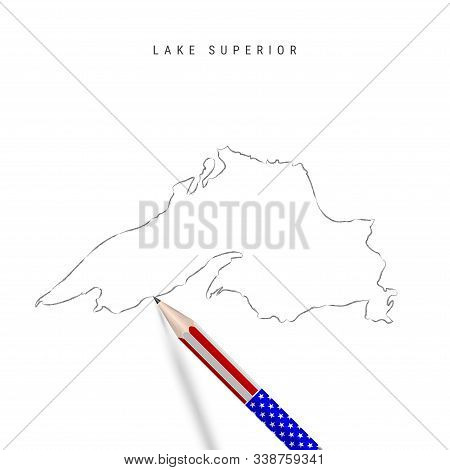 Lake Superior Vector Map Pencil Sketch. Lake Superior Outline Contour Map With 3d Pencil In American