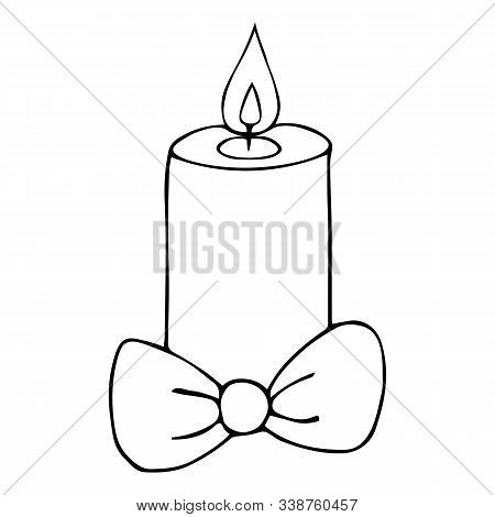 Christmas candle. Bow decoration. Vector illustration. Outline on an isolated background. Doodle style. Sketch. Coloring book for children. Magic attribute. The hot wax runs off. Hot flame. Divination. Christmas. Christmastide. New Year. Festive print. Id