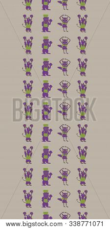 Vector Taupe Vertical Border Anthropomorphic Characters Seamless Pattern Background