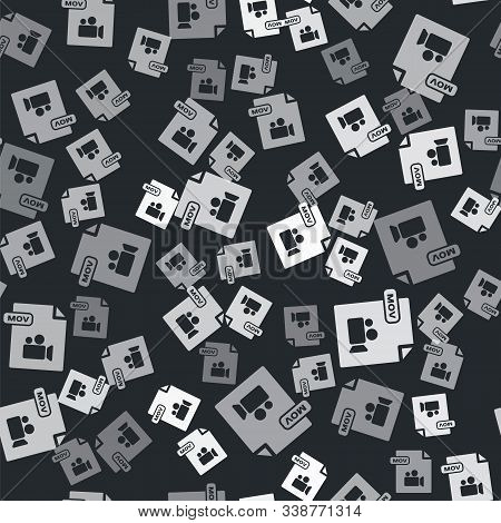Grey Mov File Document. Download Mov Button Icon Isolated Seamless Pattern On Black Background. Mov