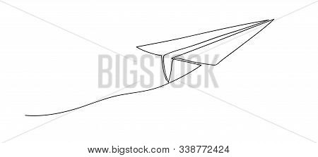 Airplane. Continuous Line Art Drawing. Hand Drawn Doodle Vector Illustration In A Continuous Line. L