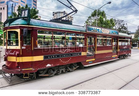 Melbourne, Australia - November 16, 2009: Closeup Of Brown City Circle Tram Riding On Its Tracks Und