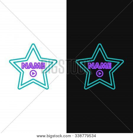 Green And Purple Line Hollywood Walk Of Fame Star On Celebrity Boulevard Icon Isolated On White And